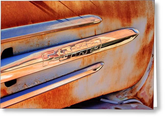 Gmc Greeting Cards - GMC 4000 V6 Pickup Truck Side Emblem Greeting Card by Jill Reger