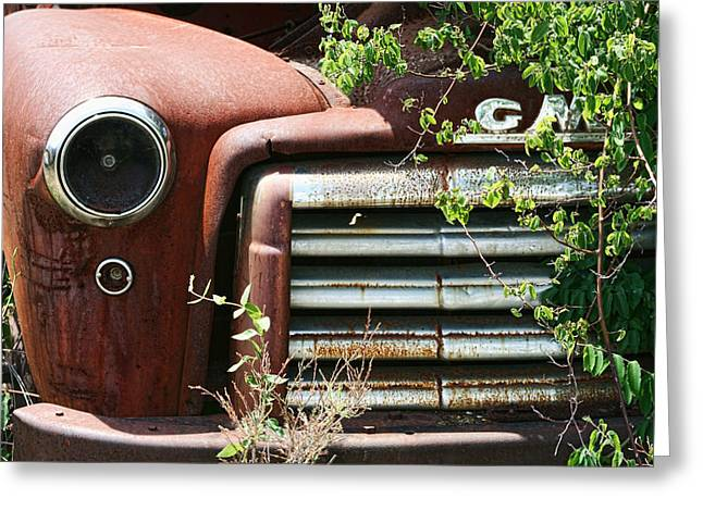 GMC Grill Work Greeting Card by Kathy Clark