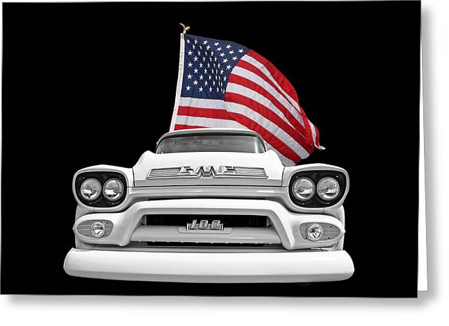 Classic Pickup Photographs Greeting Cards - GMC Pickup With US Flag Greeting Card by Gill Billington
