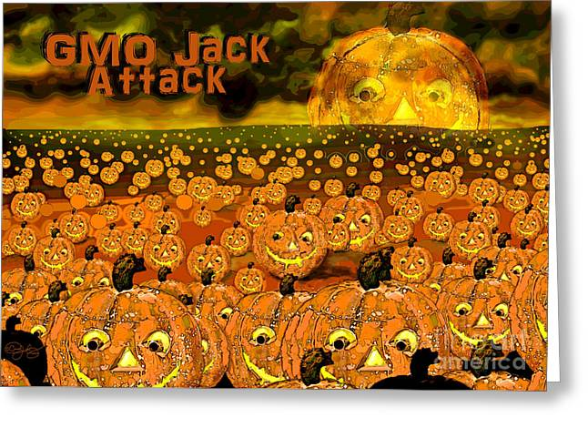 Gmo Jack Attack Greeting Card by Carol Jacobs