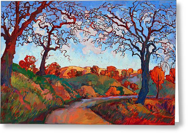 Paso Robles Greeting Cards - Gnarled Red Greeting Card by Erin Hanson