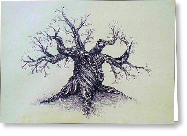 Gnarled Drawings Greeting Cards - Gnarled Tree Greeting Card by Troy Caperton
