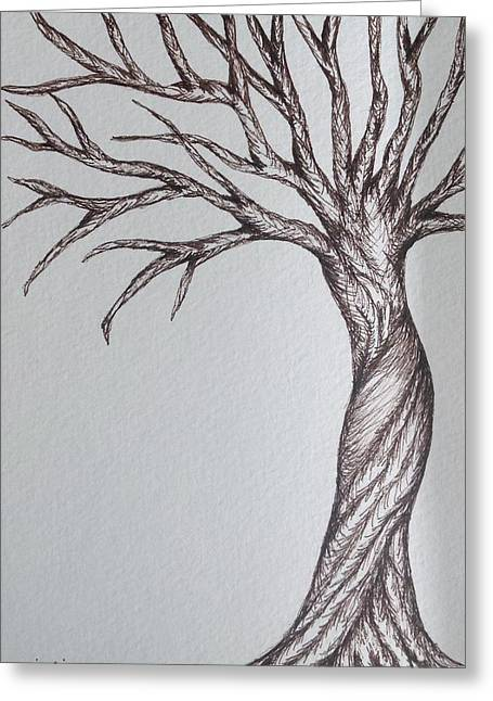Gnarly Drawings Greeting Cards - Gnarly Tree Greeting Card by Julie Myers
