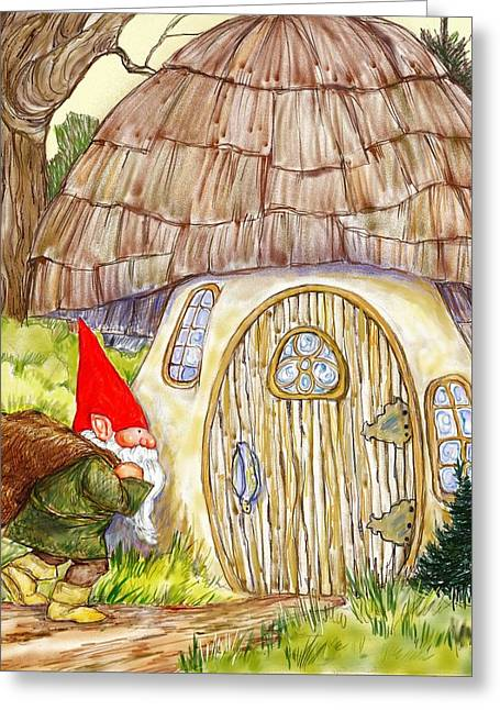Toadstools Greeting Cards - Gnome and Toadstool Home Greeting Card by Peggy Wilson