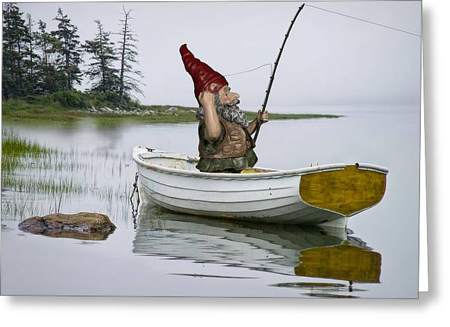 Mt Desert Island Greeting Cards - Gnome Fisherman in a White Maine Boat on a Foggy Morning Greeting Card by Randall Nyhof