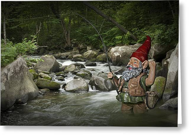 Trout Photograph Greeting Cards - Gnome Fishing on a Wilderness Trout Stream Greeting Card by Randall Nyhof