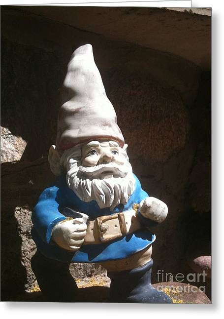 Garden Statuary Greeting Cards - Gnome in Blue Greeting Card by Jen  Brooks Art