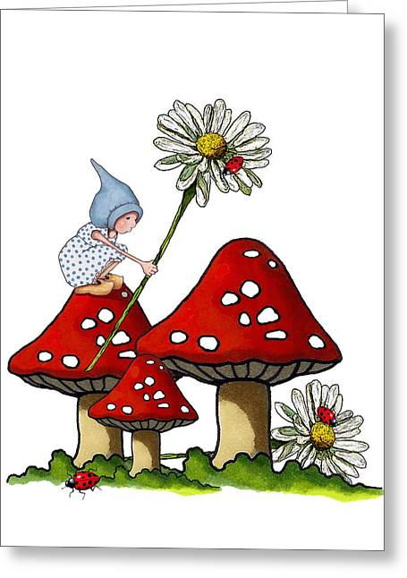 Toadstools Mixed Media Greeting Cards - Gnome with Toadstools and Daisy Greeting Card by Joyce Geleynse