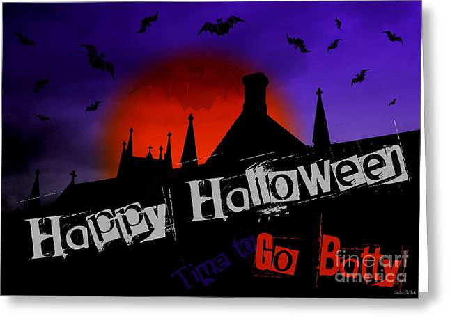 Witches Brew Greeting Cards - Go Batty Halloween Card Greeting Card by Linda Galok