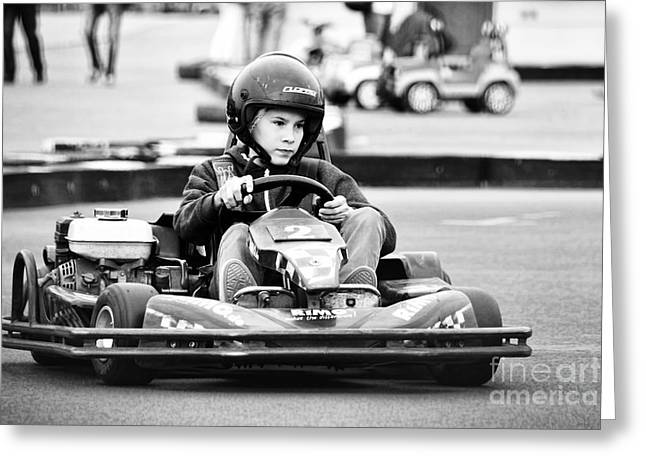 Go Cart Greeting Cards - Go-carting Greeting Card by Nilay Tailor