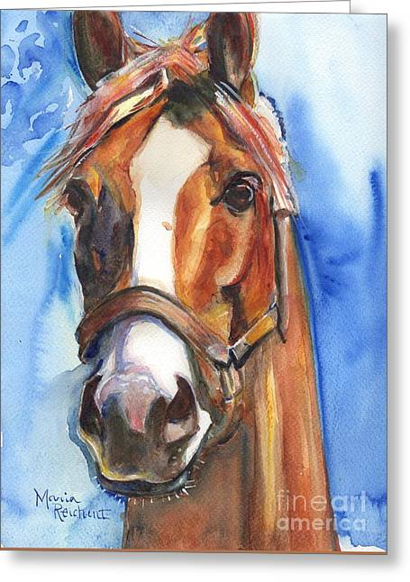 Horse Painting Of California Chrome Go Chrome Greeting Card by Maria's Watercolor