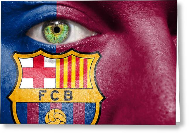 Liga Greeting Cards - Go FC Barcelona Greeting Card by Semmick Photo