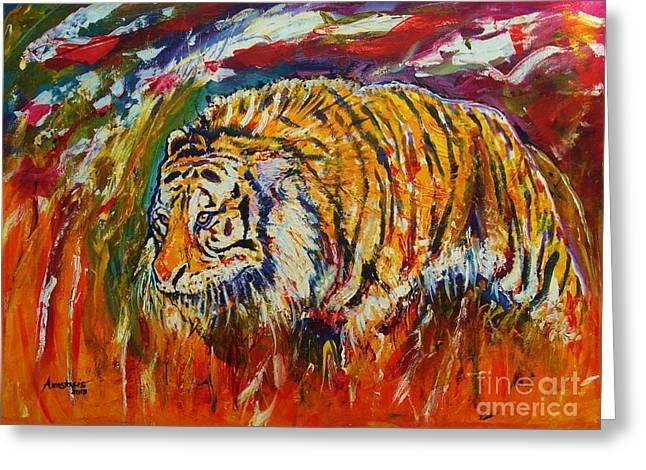 Tasos Greeting Cards - Go Get Them Tiger Greeting Card by Anastasis  Anastasi