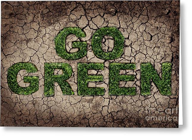 Labelled Greeting Cards - Go Green Greeting Card by Jelena Jovanovic