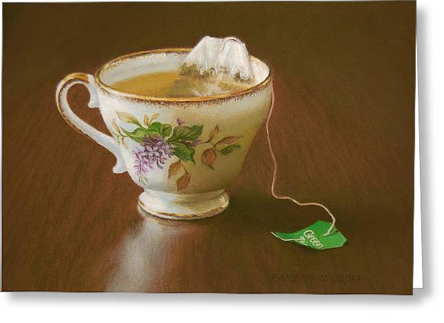 Floral Still Life Pastels Greeting Cards - Go Green Tea Greeting Card by Barbara Groff