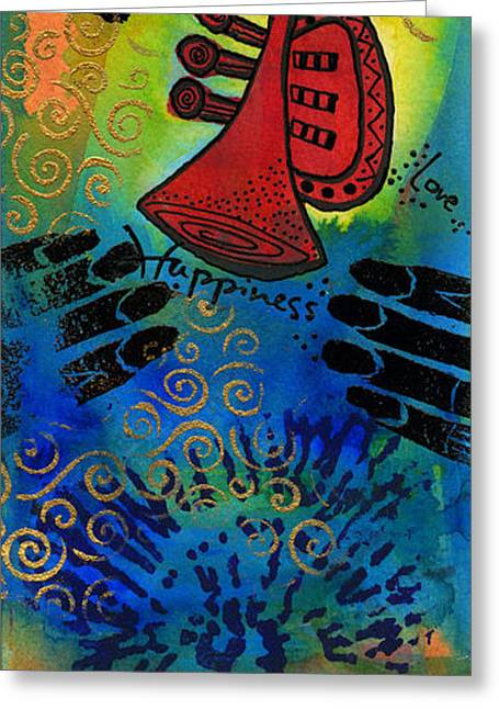 Survivor Art Greeting Cards - Go head Blow Your Horn Greeting Card by Angela L Walker