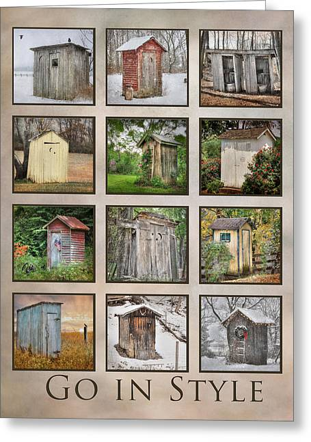 Pottier Greeting Cards - Go In Style - Outhouses Greeting Card by Lori Deiter