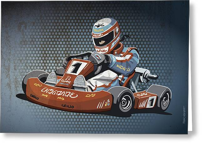 Motorsport Greeting Cards - Go-Kart Racing Grunge Color Greeting Card by Frank Ramspott