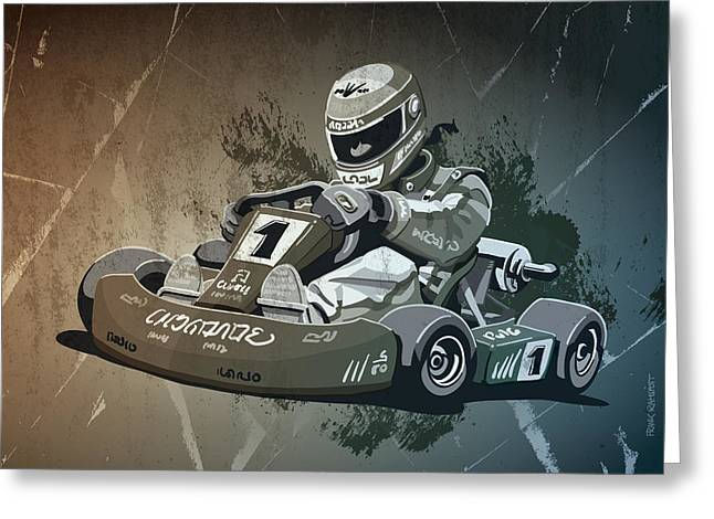 Go-kart Racing Grunge Monochrome Greeting Card by Frank Ramspott