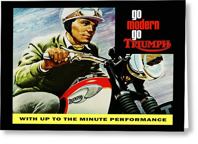 Motorcycles Greeting Cards - Go Modern Go Triumph Greeting Card by Mark Rogan
