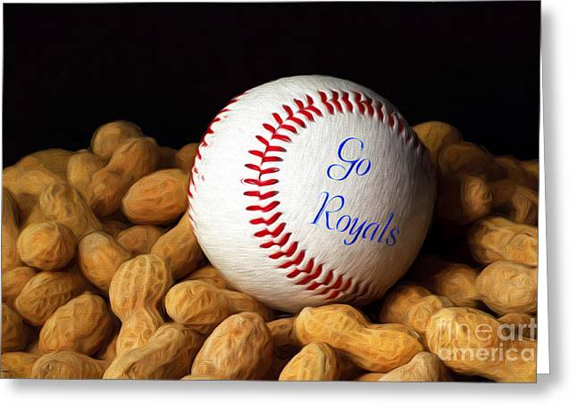 Nuts Mixed Media Greeting Cards - Go Royals Greeting Card by Andee Design