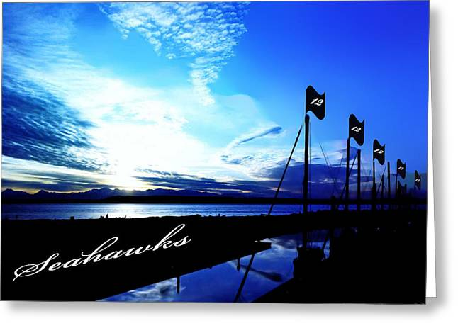 Waterscape Digital Art Greeting Cards - Go Seahawks Greeting Card by Eddie Eastwood