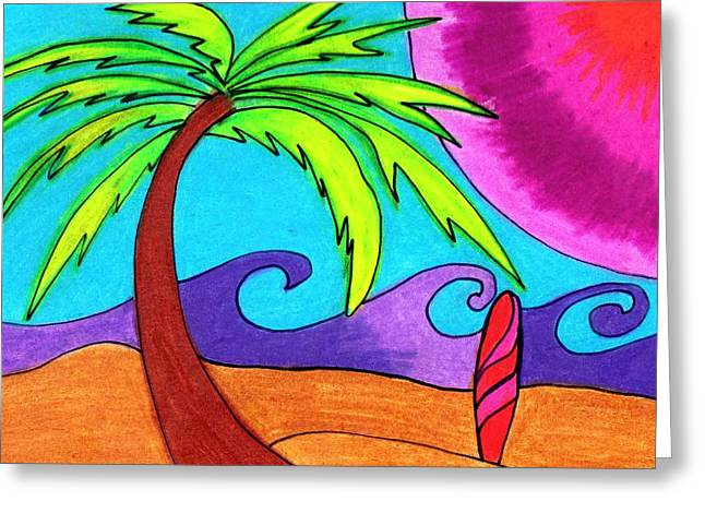 Palm Trees Greeting Cards - Go Surf Greeting Card by Geree McDermott