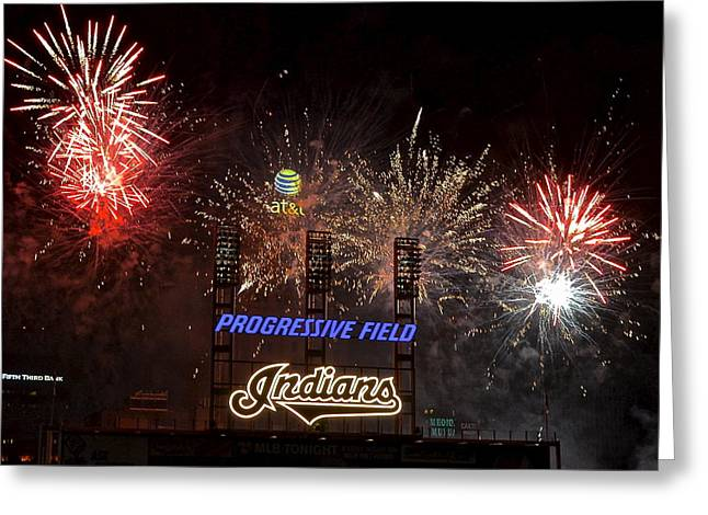 Progressive Field Greeting Cards - Go Team Greeting Card by Frozen in Time Fine Art Photography