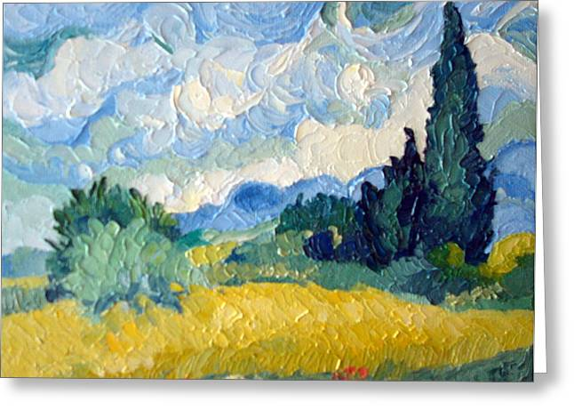 Van Gogh Style Greeting Cards - Go Van Gogh Greeting Card by Susan Woodward
