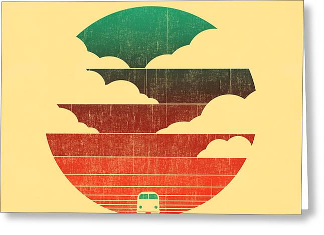 Road Trip Greeting Cards - Go west Greeting Card by Budi Kwan