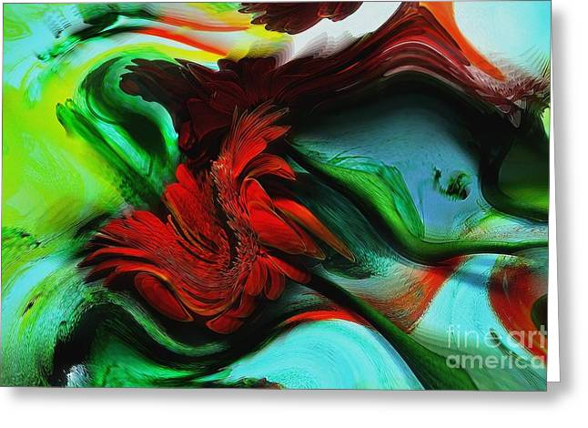 Photographs With Red. Greeting Cards - Go With The Flow Abstract Greeting Card by Liane Wright
