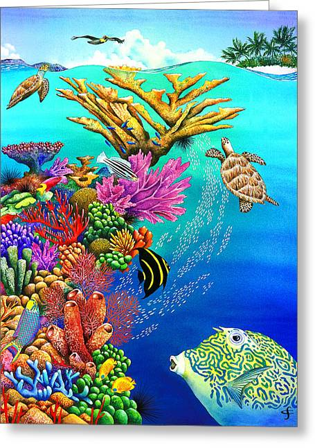 Sea Animals Greeting Cards - Go With The Flow Greeting Card by Carolyn Steele