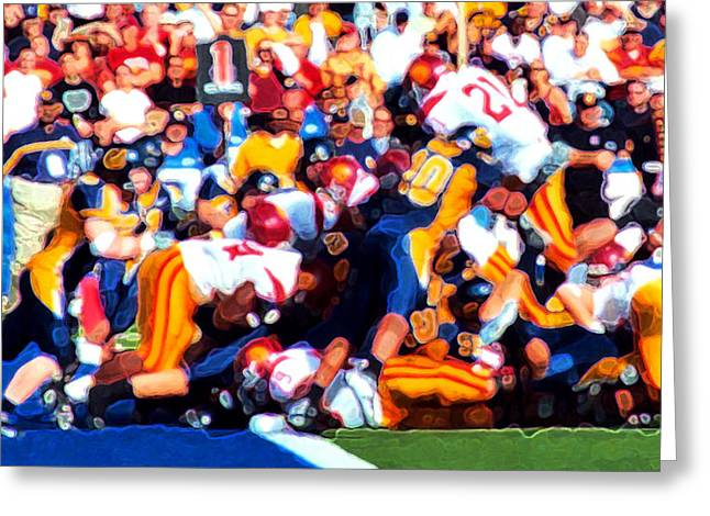 Offense Digital Art Greeting Cards - Goal Line Stand Greeting Card by Ron Regalado