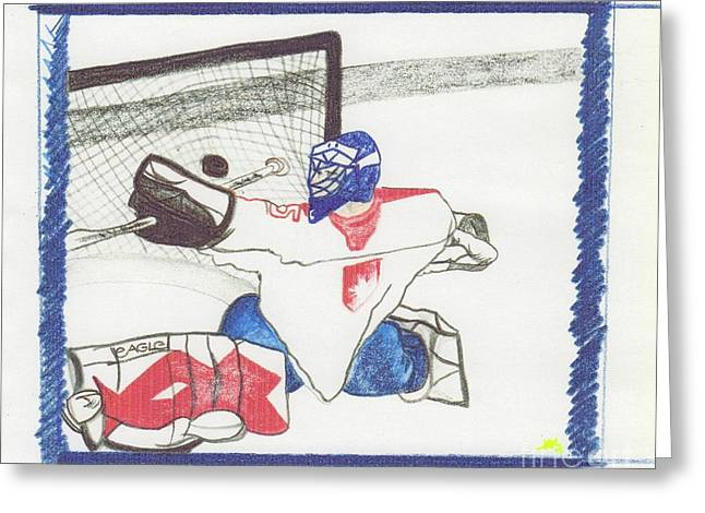 Scores Drawings Greeting Cards - Goalie by jrr Greeting Card by First Star Art