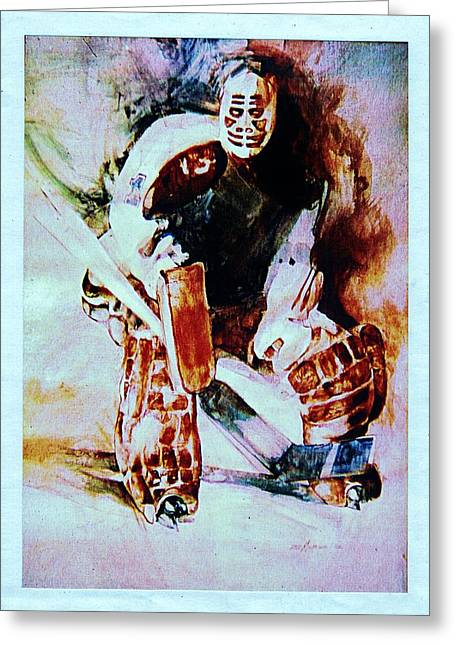 Hockey Paintings Greeting Cards - Goalie Greeting Card by Dale Michels