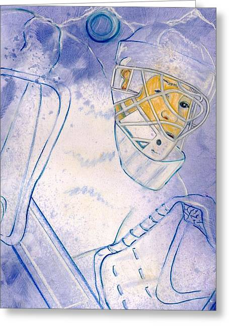 Hockey Paintings Greeting Cards - Goalie Missed Greeting Card by Rosemary Hayes