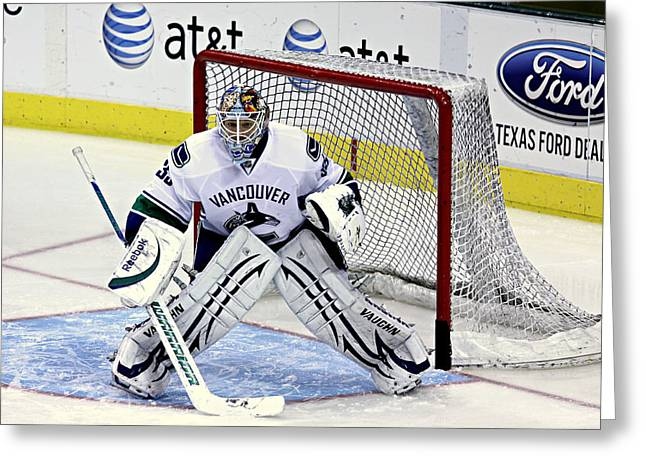 Professional Ice Hockey Greeting Cards - Goalie Save 3 Greeting Card by Stephen Stookey
