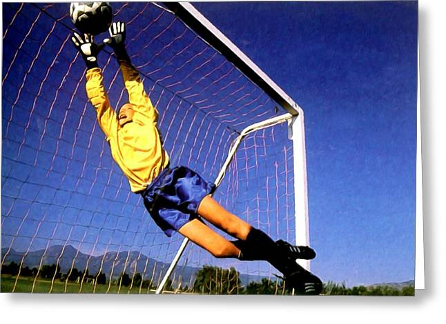 Goalkeeper Paintings Greeting Cards - Goalkeeper catches the ball Greeting Card by Lanjee Chee