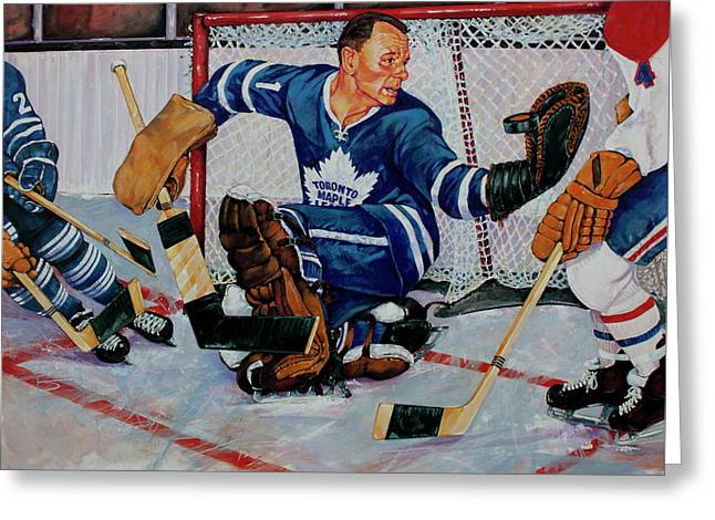 Puck Paintings Greeting Cards - Goaltender Greeting Card by Derrick Higgins