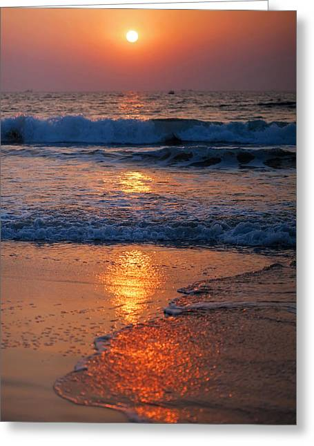 Sunset Seascape Greeting Cards - Goan Sunset. India Greeting Card by Jenny Rainbow