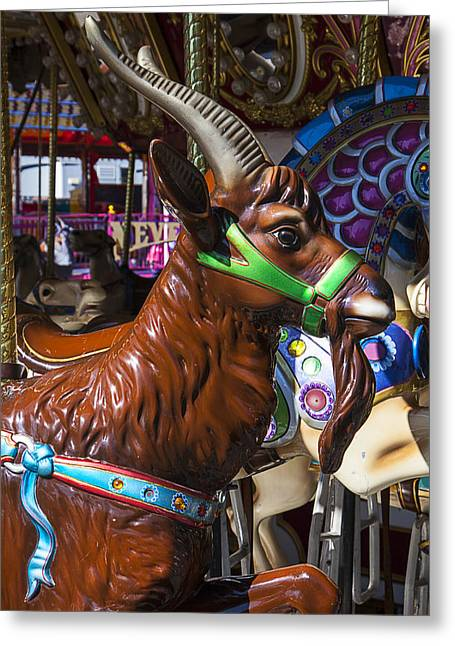 Amusements Greeting Cards - Goat Carrousel Ride Greeting Card by Garry Gay