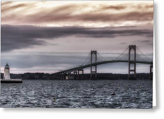 Texting Greeting Cards - Goat Island Lighthouse and Newport Bridge Greeting Card by Joan Carroll