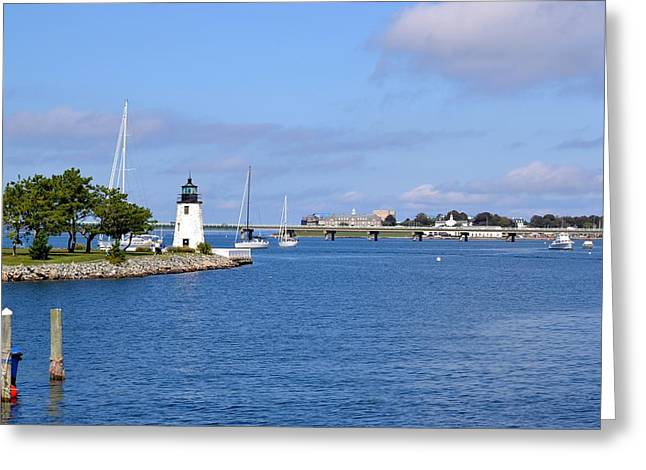 Recently Sold -  - Blue Sailboats Greeting Cards - Goat Island Lighthouse in Newport Rhode Island Greeting Card by Krystal Goldie