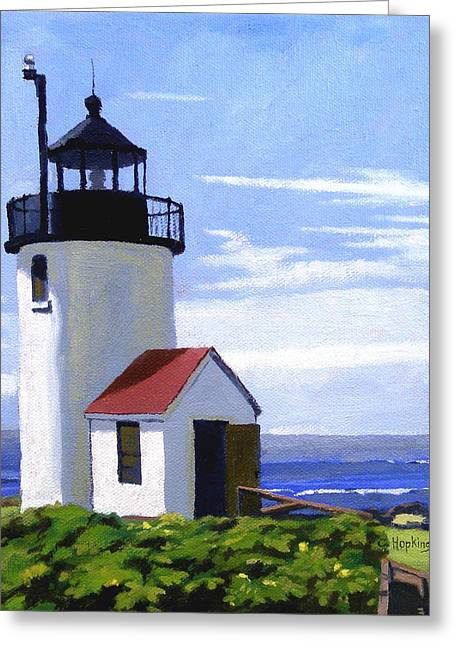 Nubble Lighthouse Paintings Greeting Cards - Goat Island Lighthouse Maine Greeting Card by Christine Hopkins