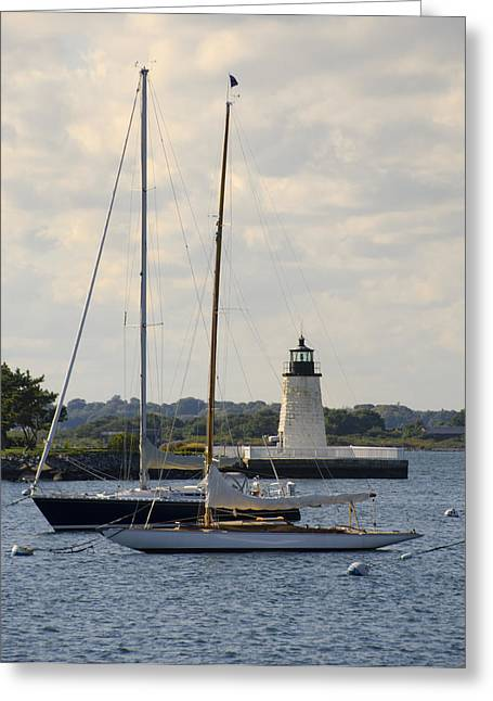 Goat Digital Greeting Cards - Goat Island Lighthouse - Newport Rhode Island Greeting Card by Bill Cannon