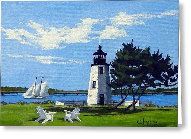 Goat Island Lighthouse Newport Rhode Island Greeting Card by Christine Hopkins