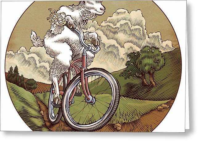 Storybook Greeting Cards - Goat Rider Greeting Card by John HInderliter