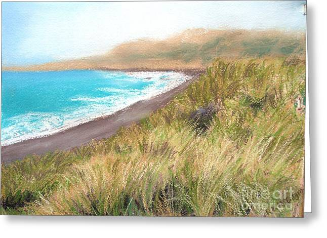 Sonoma Pastels Greeting Cards - Goat Rock Beach Greeting Card by Ronine McIntyre