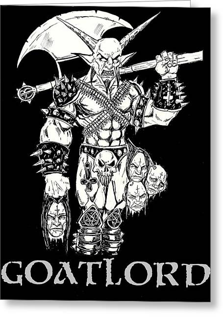 Levi Greeting Cards - Goatlord Censorship Greeting Card by Alaric Barca