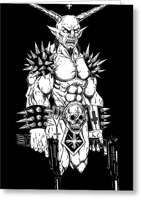 Levi Greeting Cards - Goatlord Hit List Black Greeting Card by Alaric Barca